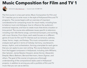 Music Composition for Film and TV I at Berklee College of Music