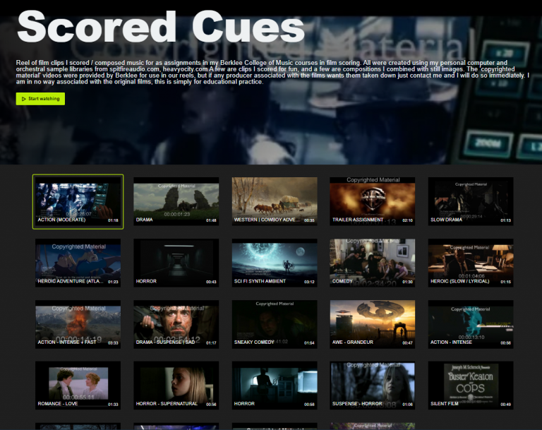 Screenshot of scored film music on Vimeo